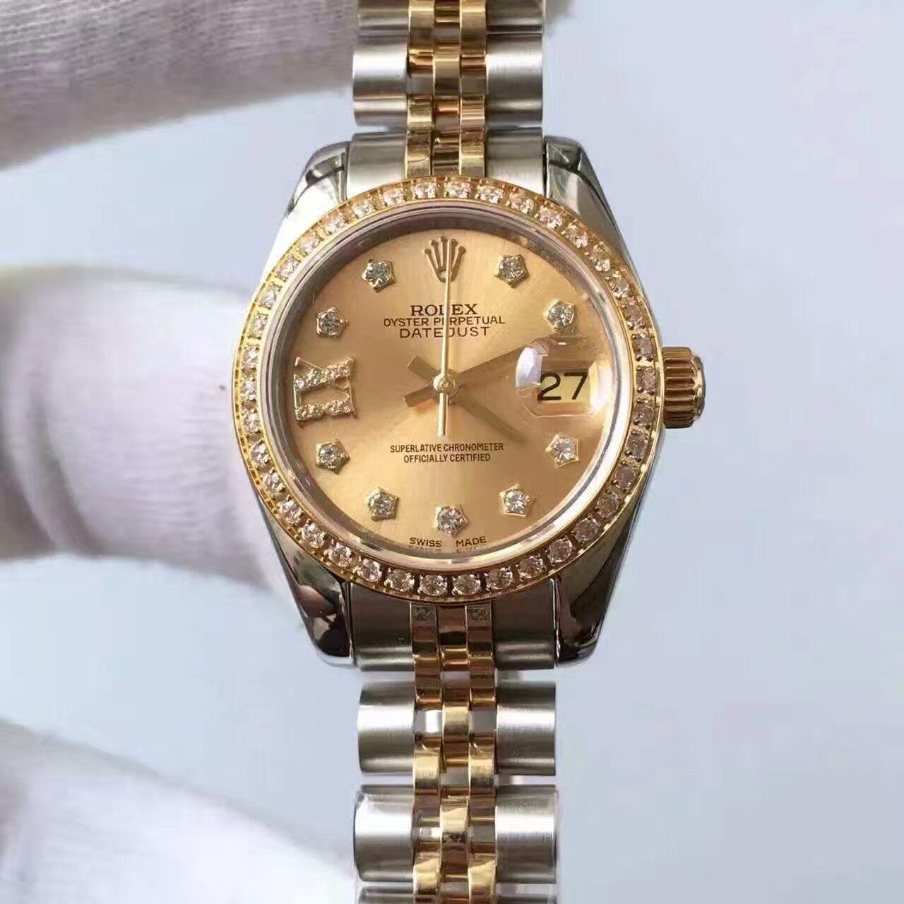 【台湾厂顶级复刻手表】劳力士女装日志型系列279383RBR香槟色表盘女士腕表价格报价