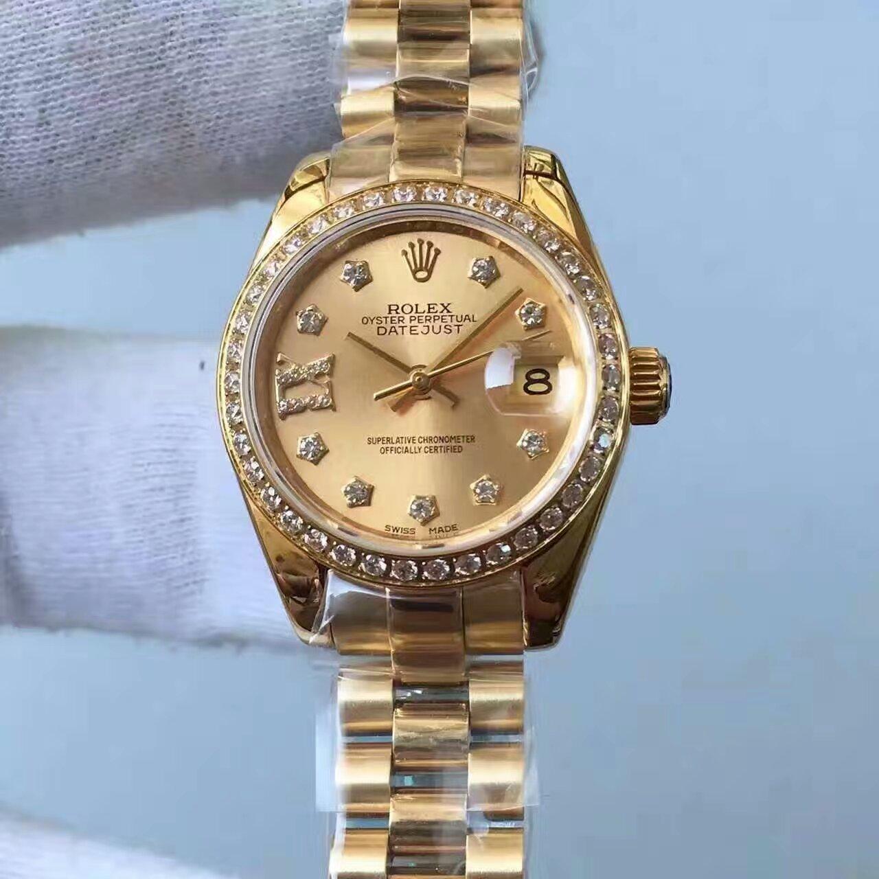 【台湾厂1:1复刻高仿手表】劳力士女装日志型系列279178香槟色表盘女士腕表