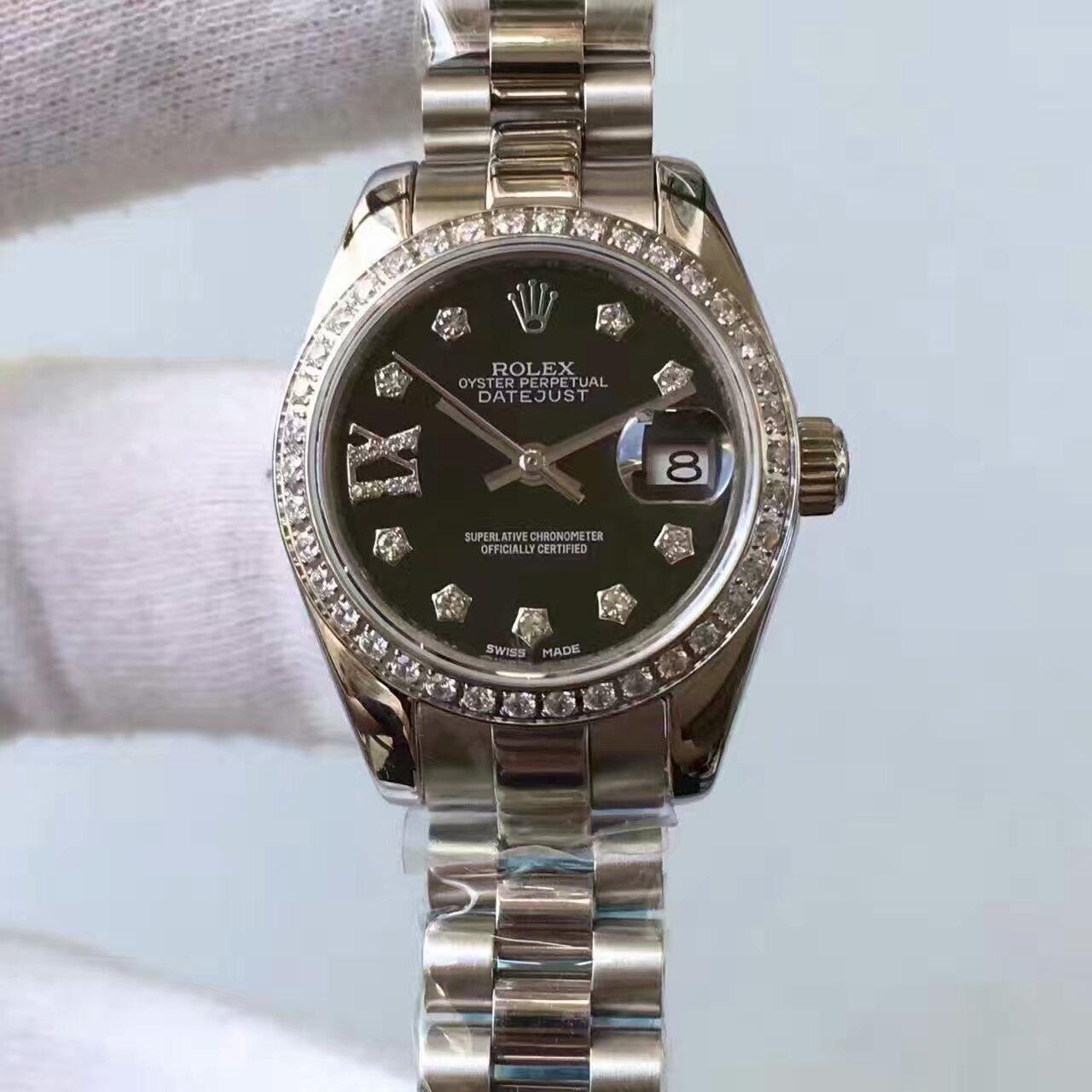 【台湾厂一比一复刻手表】劳力士女装日志型系列黑色表盘腕表价格报价