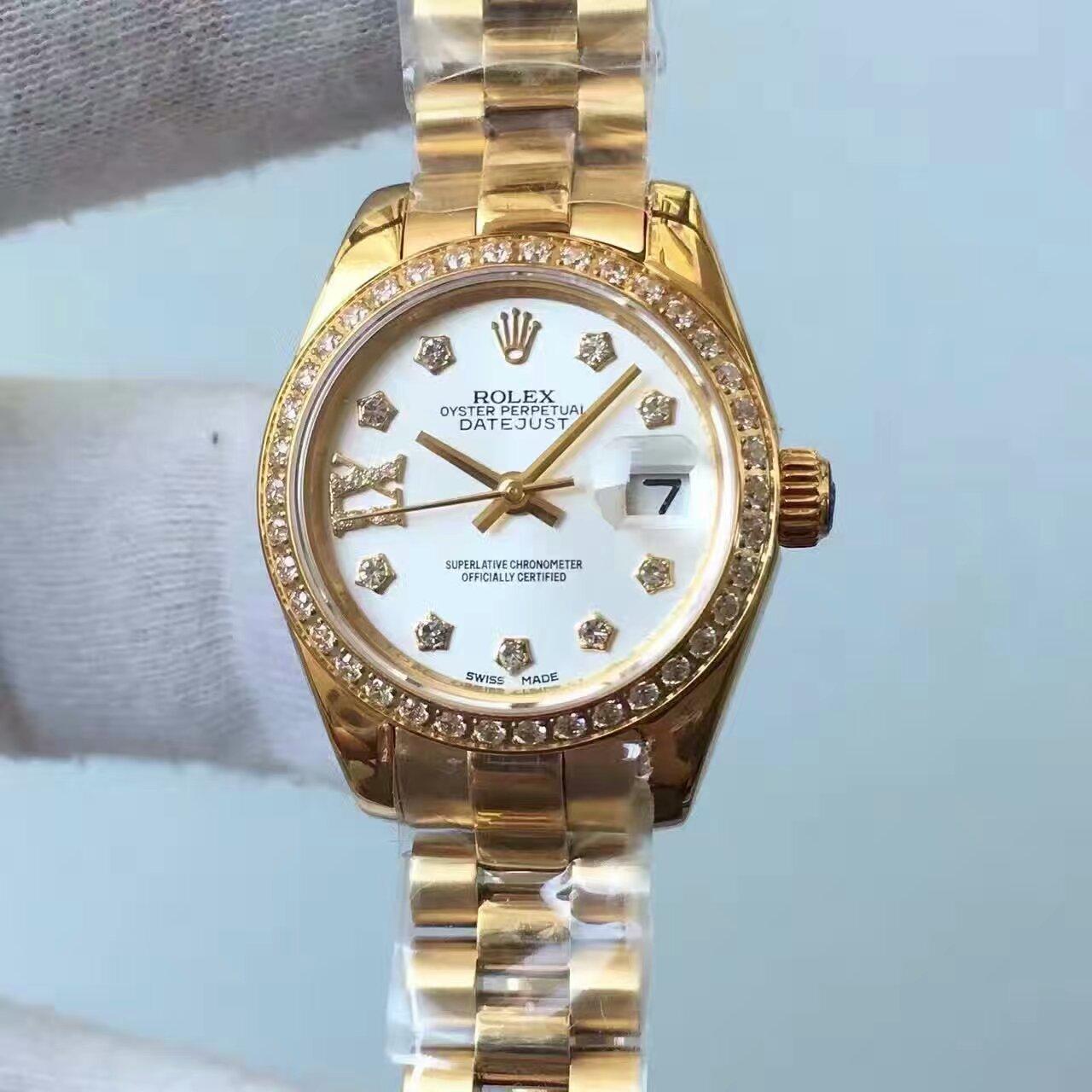 【台湾厂一比一高仿手表】劳力士女装日志型系列白色表盘女士腕表价格报价