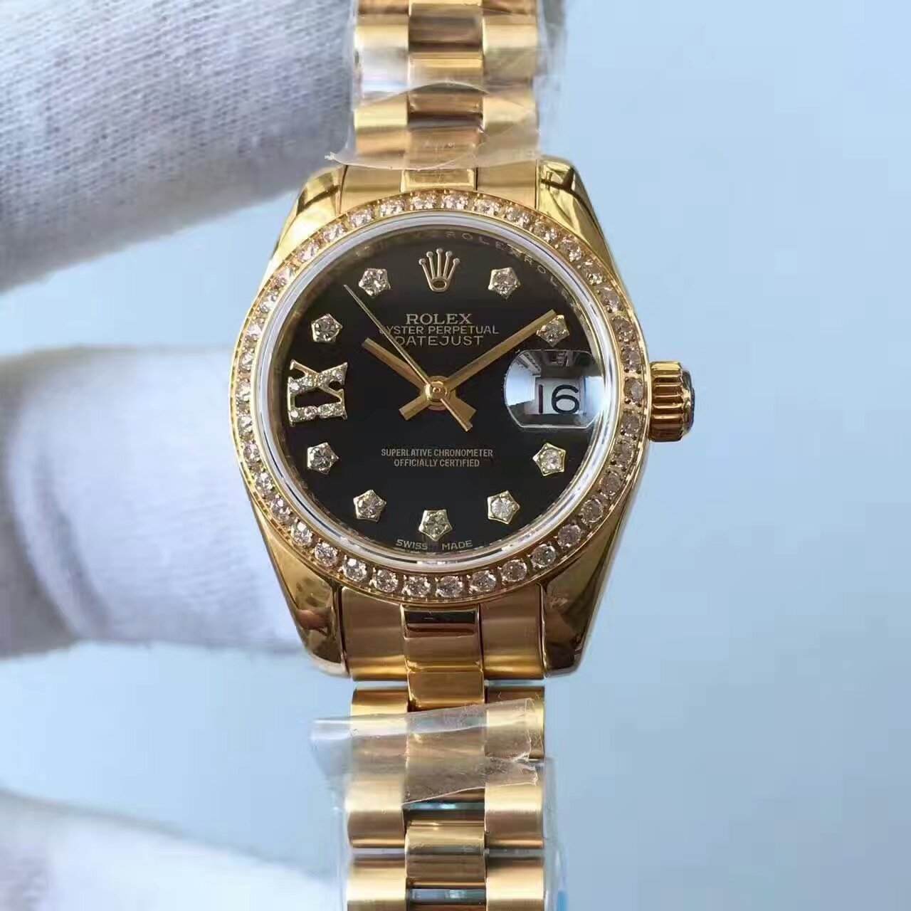 【台湾厂一比一复刻手表】劳力士女装日志型系列黑色表盘女士腕表价格报价