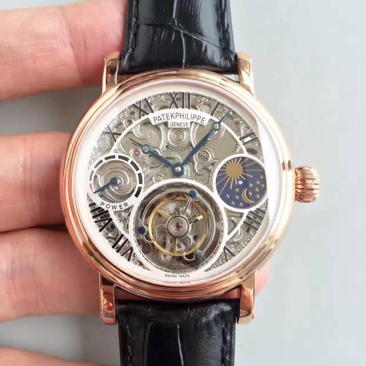 【TF厂一比一精仿手表】百达翡丽镂空雕花动力星辰真陀飞轮腕表