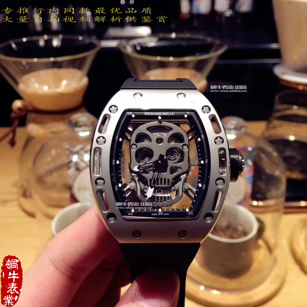【KV厂一比一超A高仿手表】理查德.米勒男士系列RM 052银色骷髅头腕表 / RM 052B