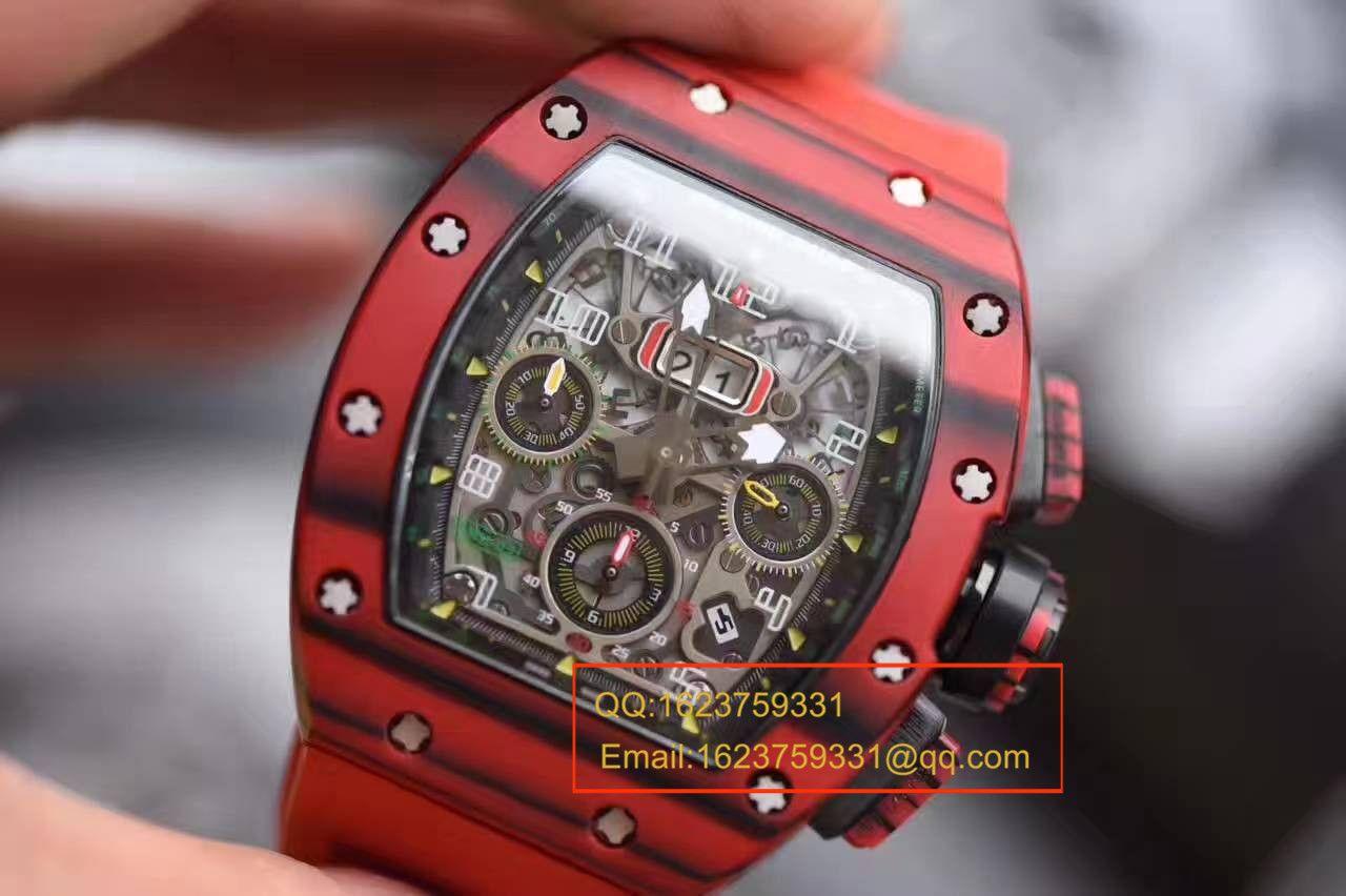 【独家视频测评RM一比一超A高仿手表】理查德.米勒男士系列RM 011 RED QTPT红碳纤维腕表 / RMBH11-03B