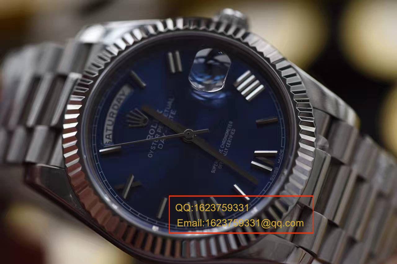 【独家视频评测EW厂1:1超A高仿手表】劳力士星期日历型系列228239蓝盘腕表 / RBA112A