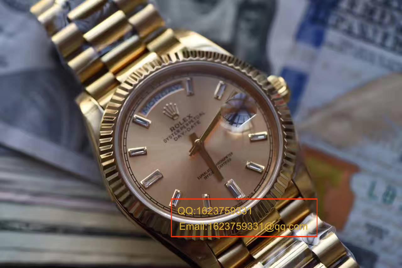 【台湾厂一比一超A精仿手表】劳力士星期日历型系列228238香槟色表盘钻钉腕表 / RBA179