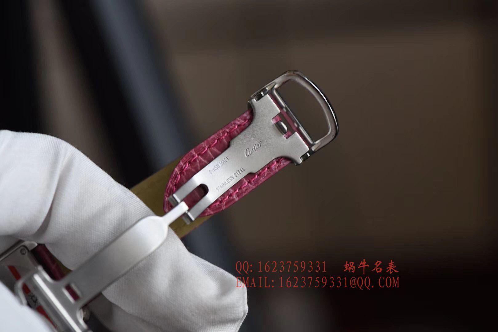 【独家视频测评K11厂一比一超A高仿手表】卡地亚坦克系列 W5200000 粉色女士石英腕表 / KAD008