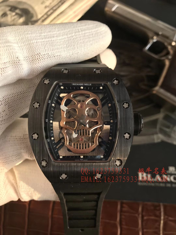 【KV厂一比一超A高仿手表】理查德.米勒男士系列RM 52-01潘玮柏同款金色骷髅头腕表 / RM 52-01