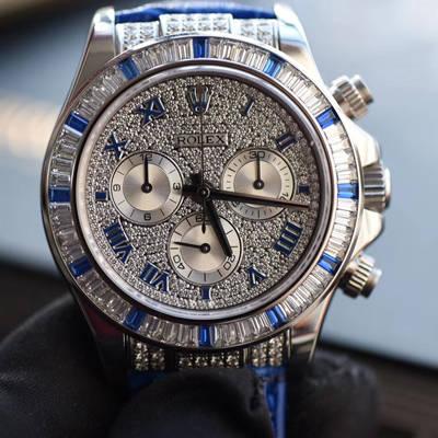 【台湾一比一高仿手表】劳力士宇宙计型迪通拿系列116599 12sa密镶钻表面配蓝珐琅罗马数字腕表价格报价
