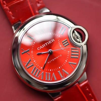 【V6厂一比一超A高仿手表】卡地亚蓝气球系列WSBB0022女士33毫米机械中国红特别版腕表