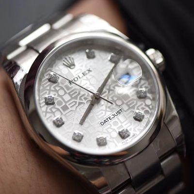 【DJ一比一超A高仿手表】劳力士36日志型系列116234白纪念花纹盘镶钻腕表价格报价