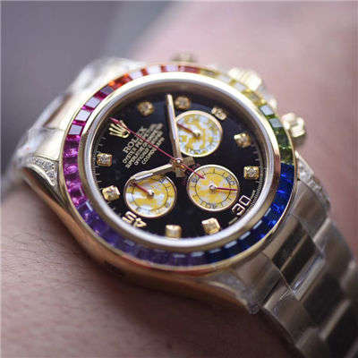 【台湾厂一比一超A克隆手表】劳力士宇宙计型彩虹迪通拿系列116595 RBOW腕表价格报价