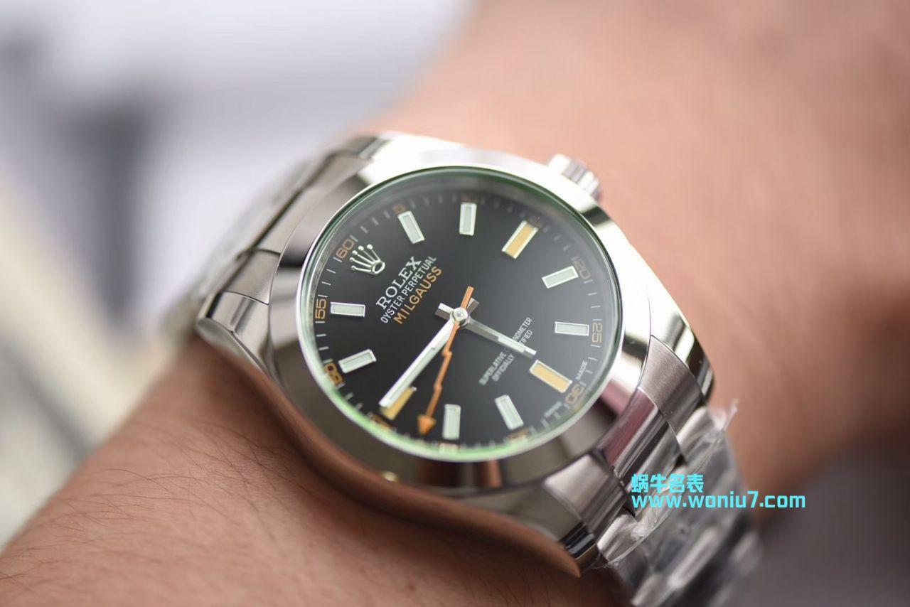 【DJ厂一比一超A顶级克隆手表】劳力士MILGAUSS系列116400-GV-72400黑盘腕表(绿玻璃闪电) / R247