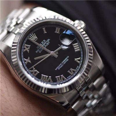 劳力士日志型系列116234-63200黑罗马盘腕表【AR1:1超A克隆手表】价格报价