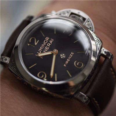 【V9一比一顶级复刻手表】沛纳海LUMINOR系列 PAM00972雕花腕表价格报价