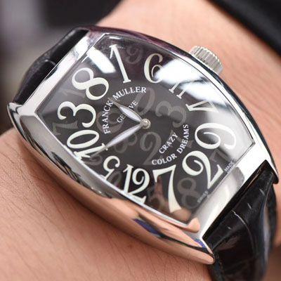【台湾厂一比一精仿法兰克穆勒手表】法穆兰CRAZY HOURS 系列 8880 CH 白金表壳白色时标黑盘腕表价格报价
