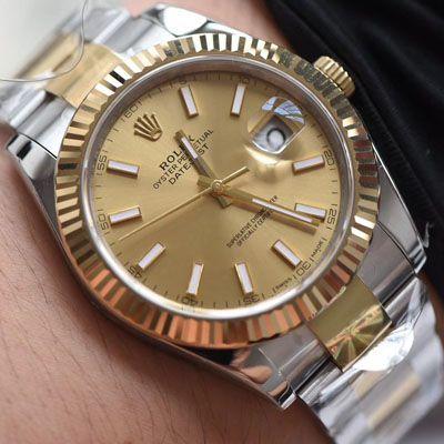 【视频评测AR厂一比一复刻劳力士日志手表】复刻的手表劳力士日志型系列116333-72213香槟盘腕表价格报价