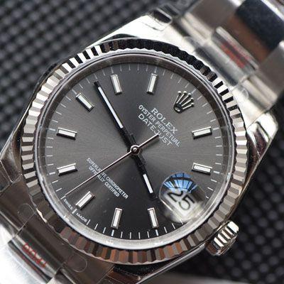 【视频评测顶级复刻手表网】劳力士日志型36系列灰面盘腕表价格报价