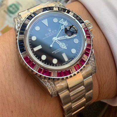 【LF厂Rolex复刻仿表土豪版彩虹钻】劳力士格林尼治型II系列116759 SAru-78209腕表价格报价