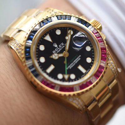 【LF厂一比一超A高仿手表】劳力士格林尼治型II彩虹钻系列116758 SAru-78208腕表价格报价