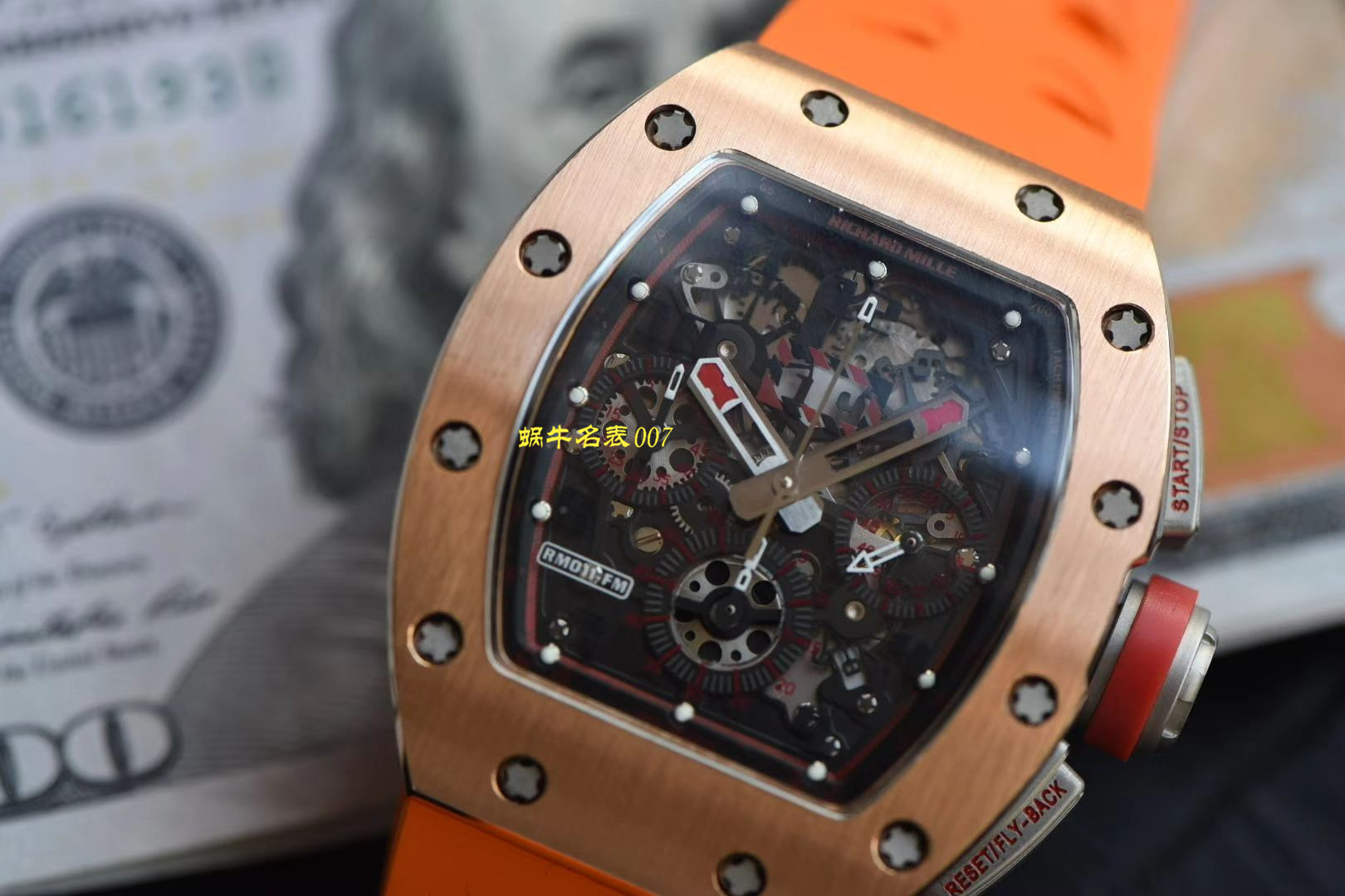 【视频评测台湾kv厂官网】新品复刻手表玫瑰金理查德米勒RM011腕表 / KVRM011jin