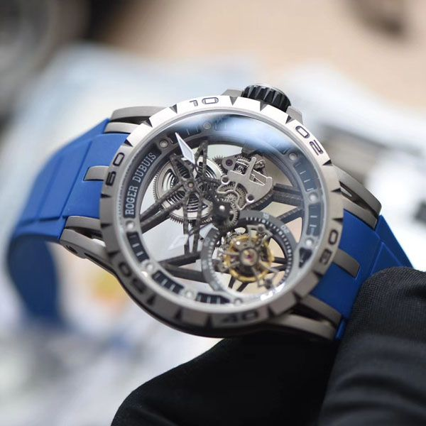 BBR厂顶级复刻陀飞轮罗杰杜彼EXCALIBUR(王者系列)系列RDDBEX0479蓝色表带腕表价格报价