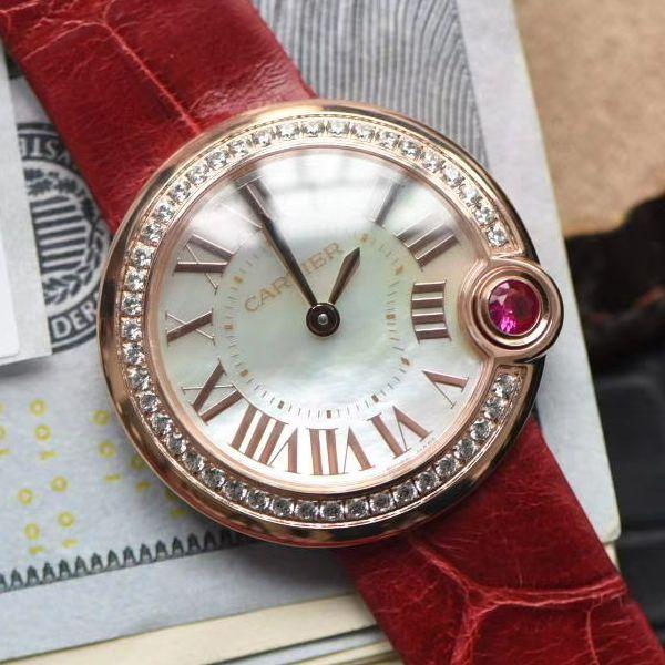 台湾厂卡地亚特别款中国红鎏金时刻WJBL0010,WBGL0007 Ballon Blanc de Cartier女士腕表价格报价