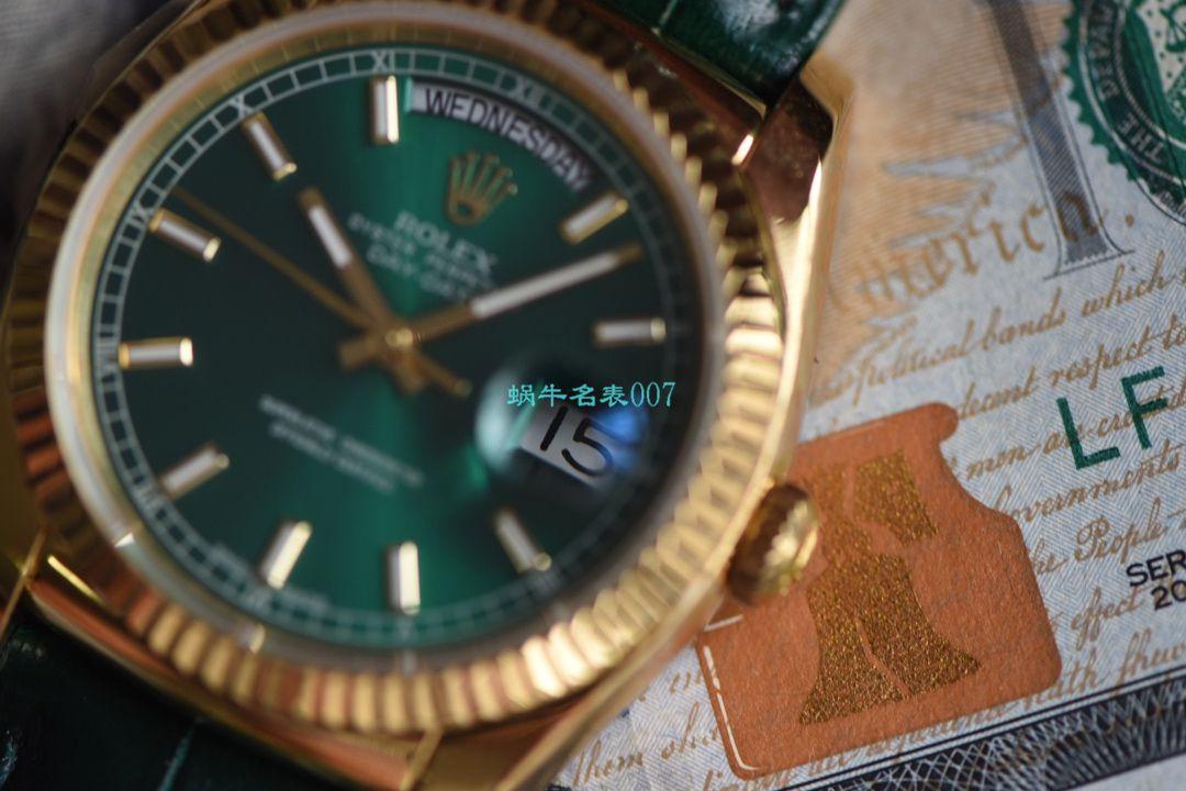 视频评测超A高仿手表劳力士星期日历型系列118138-L(FC)绿盘腕表 / R582