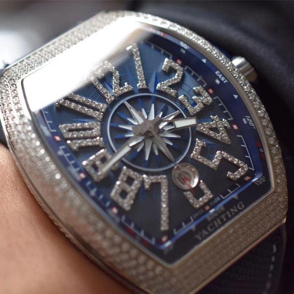 ZF厂超A高仿手表法穆兰法兰克穆勒V45蓝游艇蓝色魅影镶钻款价格报价