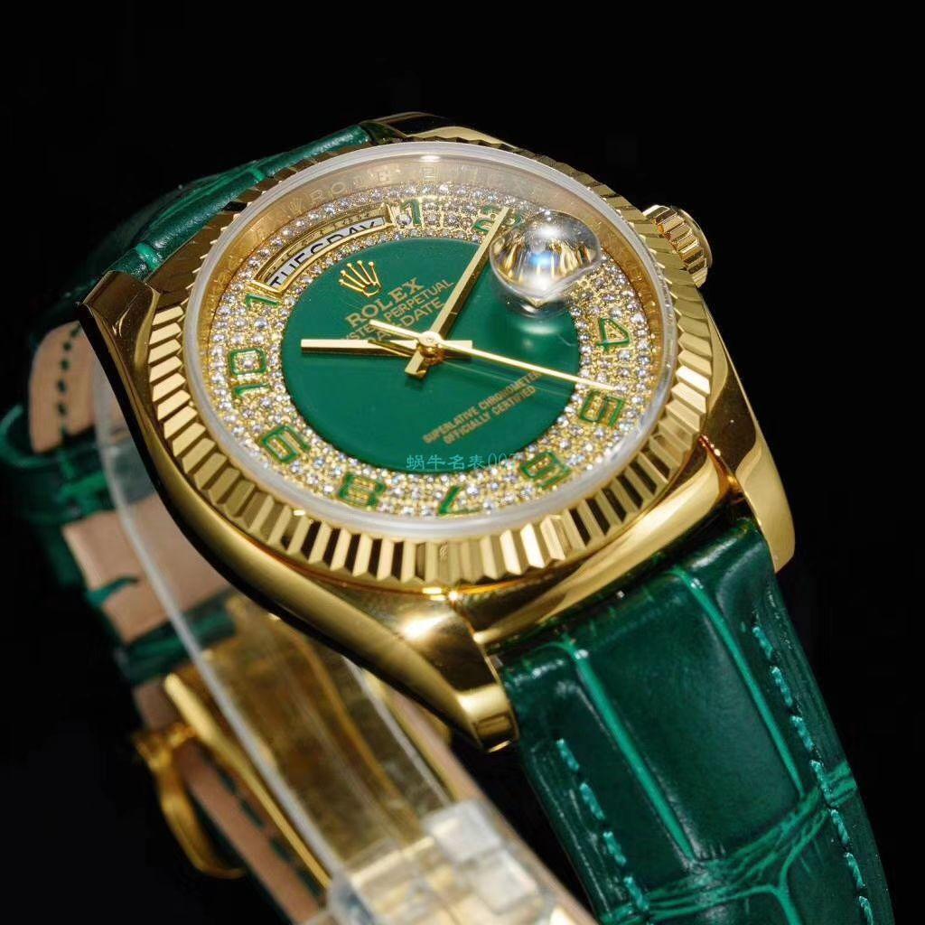 台湾厂超A高仿劳力士星期日历型系列118138绿盘腕表 / R609B