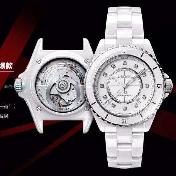 【视频评测】BV厂超A高仿手表香奈儿J12系列背透机械H5700腕表价格报价