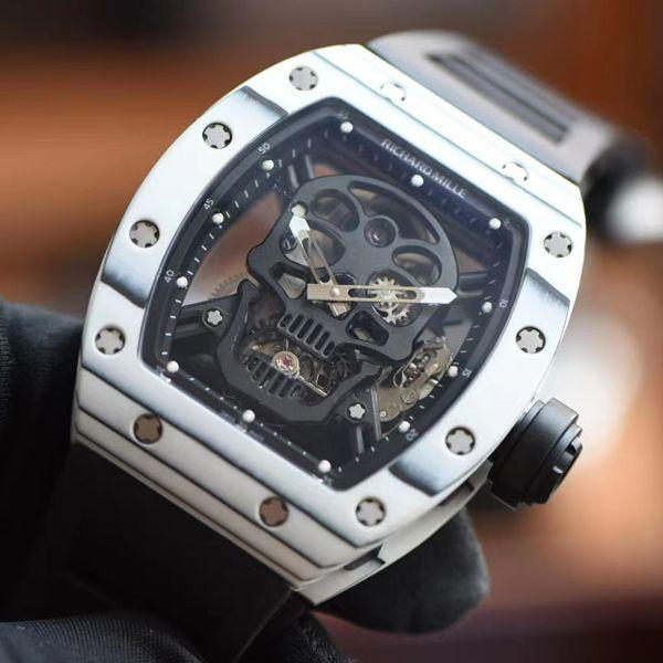 【视频评测】JB厂理查德米勒rm52限量版RM52-01真陀飞轮碳纤维骷髅头鬼王价格报价