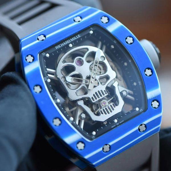 【视频评测】JB厂里查德米尔RM52-01超A高仿手表真陀飞轮碳纤维骷髅头鬼王价格报价