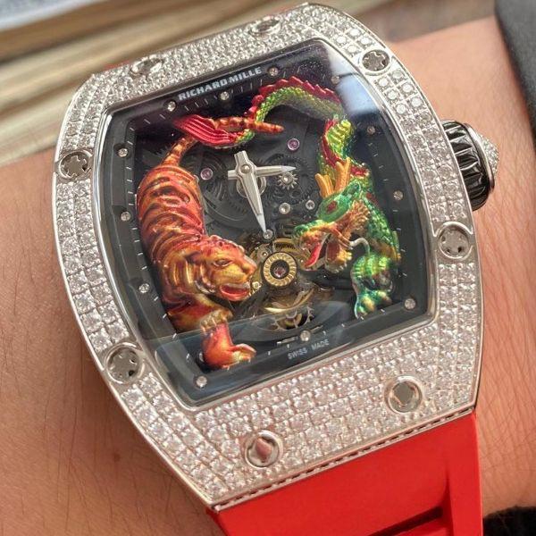 定制款理查德米勒RM 51-01龙虎满钻1比1精仿陀飞轮手表价格报价