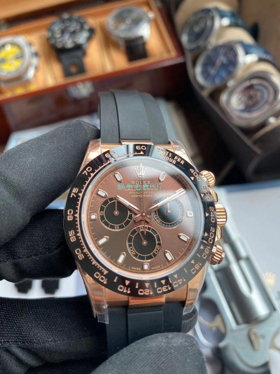 【视频评测】NOOB厂劳力士4130机芯迪通拿咖啡猫m116515ln-0041顶级复刻手表 / R663