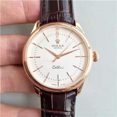 【MK厂一比一精仿手表】劳力士切利尼系列50505白盘棕带机械腕表 价格报价