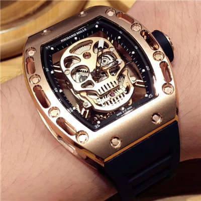【KV厂一比一超A高仿手表】理查德.米勒男士系列RM 052 金色骷髅头腕表