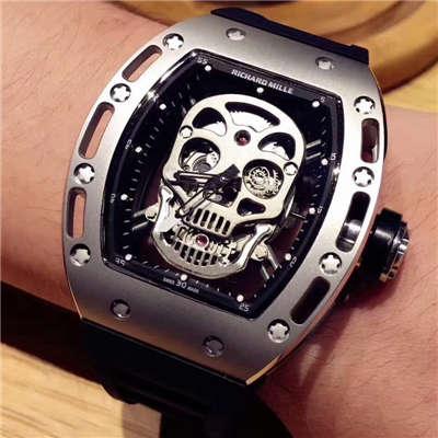 【KV厂一比一超A高仿手表】理查德.米勒男士系列RM 052银色骷髅头腕表