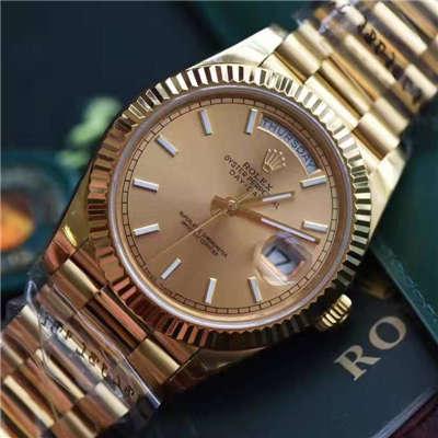 【EW厂1:1顶级复刻手表】劳力士星期日历型系列228238香槟色表盘腕表价格报价