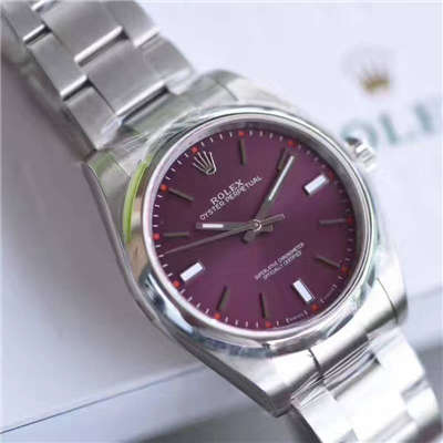 【JF厂顶级1:1复刻手表】劳力士蚝式恒动系列114300红葡萄色腕表