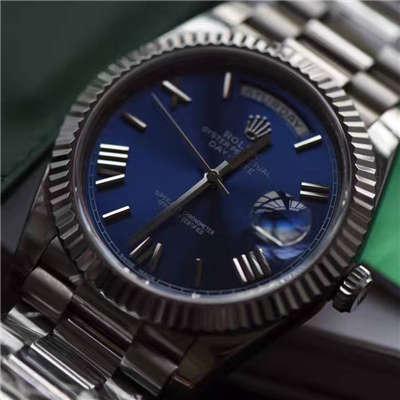 【独家视频评测EW厂1:1超A高仿手表】劳力士星期日历型系列228239蓝盘腕表价格报价
