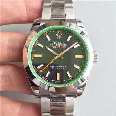 【JF厂1:1高仿手表】劳力士MILGAUSS系列116400-GV-72400黑盘腕表《黑色闪电》价格报价