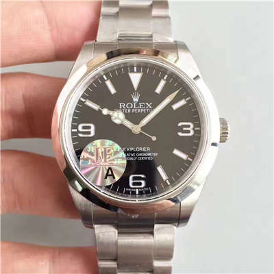 【JF厂1:1复刻手表】劳力士 探险者一代EXP1 (V10S)顶级版 214270-77200 黑盘腕表价格报价