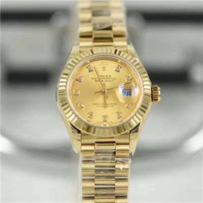 【SY厂一比一顶级复刻手表】劳力士女装日志型系列279178香槟色镶钻腕表价格报价