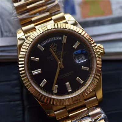 【台湾厂一比一超A高仿腕表】劳力士星期日历型系列228238黑色表盘价格报价