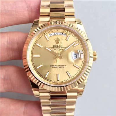 【N厂一比一复刻手表】劳力士星期日历型系列228238金盘腕表价格报价