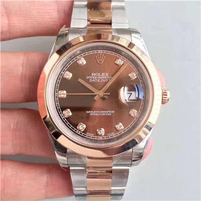 【NOOB厂一比一超A高仿手表】劳力士日志型系列126301巧克力色盘纪念型表带腕表价格报价