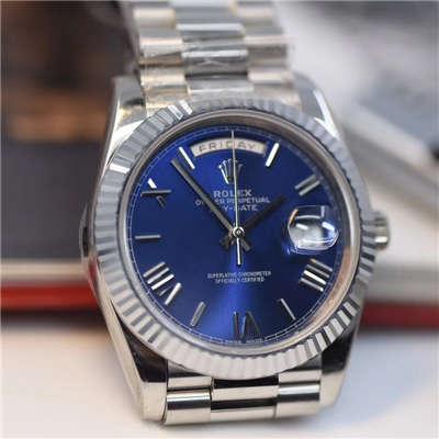 【视频评测NOOB厂一比一高仿】劳力士星期日历型系列228239蓝盘男士机械手表价格报价