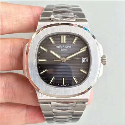 【PF厂一比一超A高仿手表】百达翡丽运动系列5711G 白金腕表钢带款(鹦鹉螺)