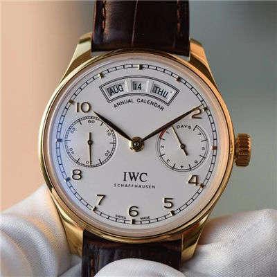 【YL一比一超A精仿手表】万国葡萄牙年历腕表系列万国年历黄金壳白面款价格报价